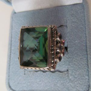 NICKY BUTLER SILVER GREEN QUARTZ/MULTISTONES RING